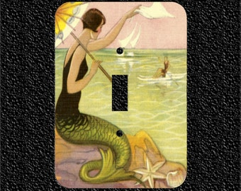 1920s Mermaid Waving to Man in Boat Single Light Switch Plate Covers - Toggle or Rocker or Outlet
