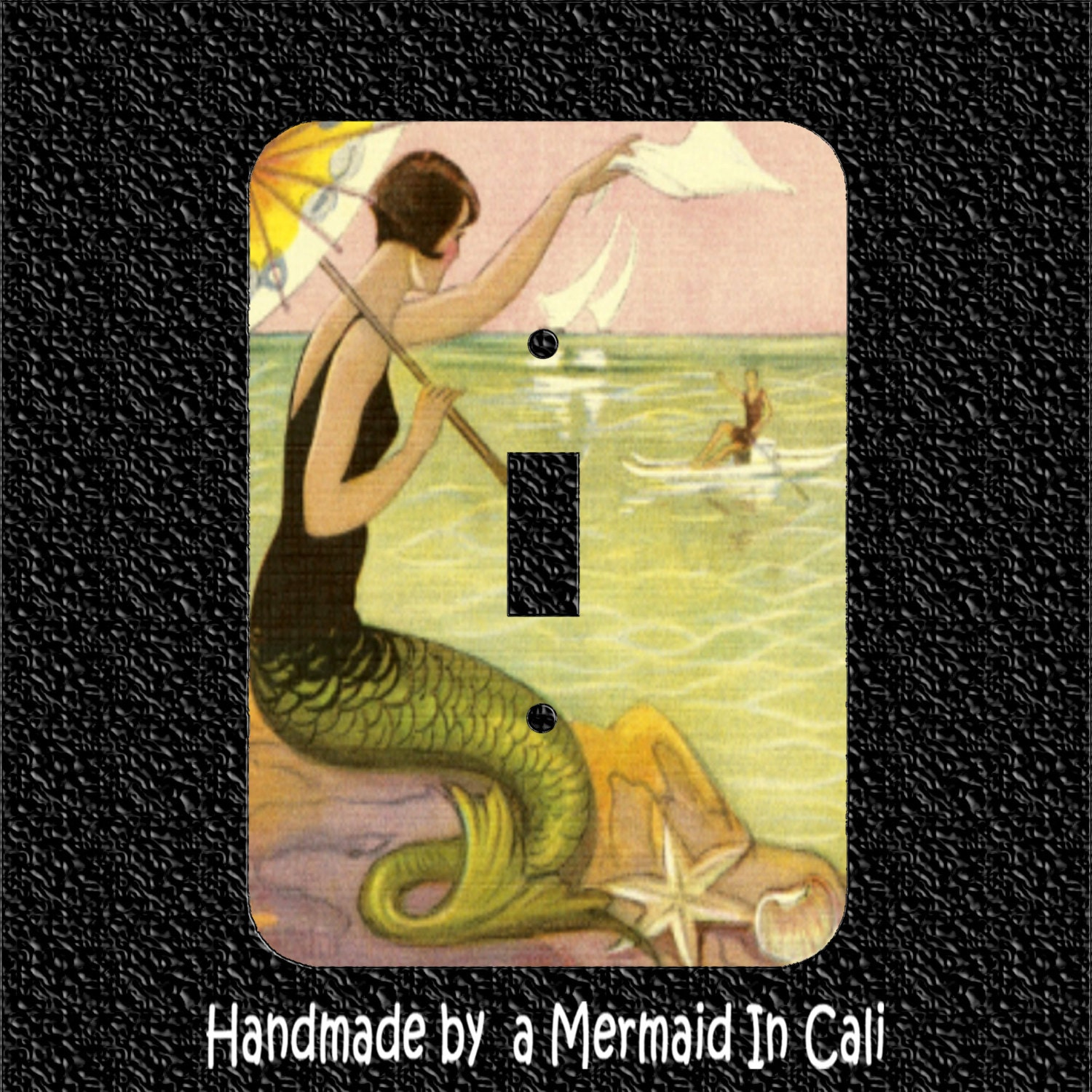 1920s Mermaid Waving To Man In Boat Single Light Switch Plate