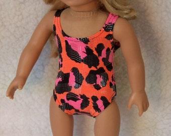 18 Inch Doll Swimsuit Multi Pink/Orange Metalliic Print in Stretch Lycra
