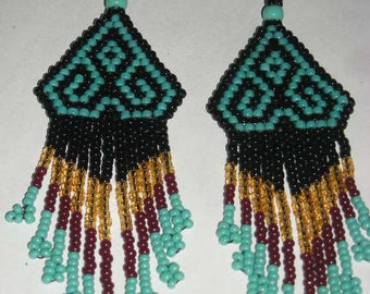Ethnic Design Earrings, Turquoise/Black