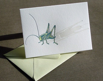 Cricket Letterpress Greeting Card