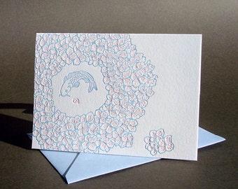 "Letterpress Koi ""Hydrangea"" Card"