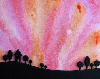 5X7 Northern Lights in Pink, Orange with 3D Black Landscape Silhouette / Aurora Borealis / Original Watercolour Horizon / Ready to Ship