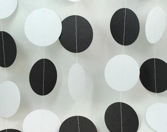 Black and White Affair Big Dots Paper Garland - Weddings - Birthdays - Celebrations