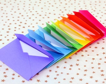 Handmade Tiny Note card and Envelope Set -Rainbow