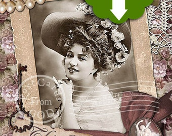 Thinking Of You / Victorian Woman / Printable 5x7 Greeting Card  - Printable Instant Download Ready To Print Digital JPG Sheet