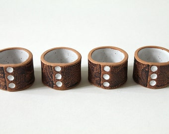 Handmade Lace Napkin Rings in White Set of Four