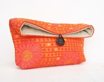 Makeup Bag, Bridesmaid Gift, Orange Clutch Purse, Orange Daisy, Jewel Tone, Floral Clutch, Travel Bag, Gift Under 25