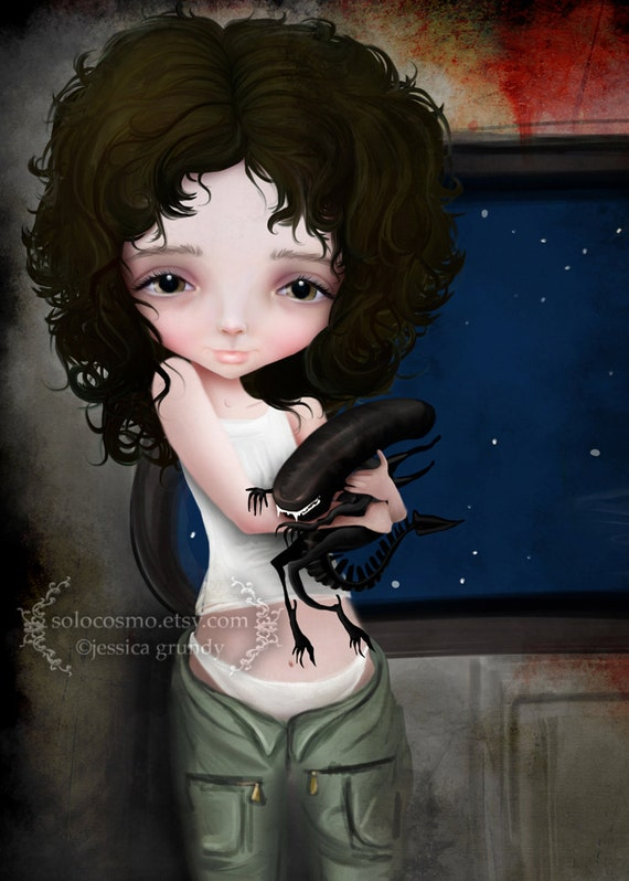 """ACEO ATC Artists Trading Card Mini Print - 'Best Friends Forever' - Small Sized Artwork 2.5x3.5"""" - Ellen Ripley and little Xenomorph"""