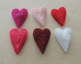48 Felt Die Cut Heart Pieces (Style H11) White, Red,Baby Pink,Ruby,Shocking Pink,Fushcia