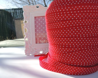 "5 Yards of 5/8"" Printed Fold Over Elastics FOE - Red with White Dots"
