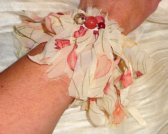 Leather and Chiffon Cuff Fringed Bracelet Necklace Hiplet - Creamy Pink and Red Flowers