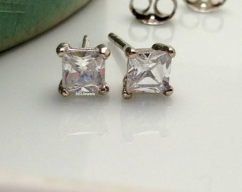 Men's stud earrings - men's earrings studs - white gold diamond cz stud earrings - square diamond cz studs - princess cut cz stud - 4mm 513A