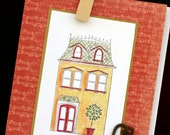 New Home, house card, warm colors, key, stamped art, colored pencils, orange, key, welcome
