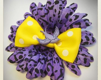 Pin Up-style violet animal print Hair flower with swallow and yellow bow