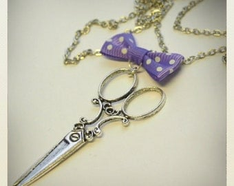 Pin up style Retro Vintage scissors necklace with violet bow