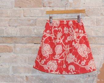 A-line Skirt - Red and White Modern Vintage Floral Cotton Fabric - toddler girls clothing - spring summer fashion - sizes 2T 3T 4 5 6 7 8