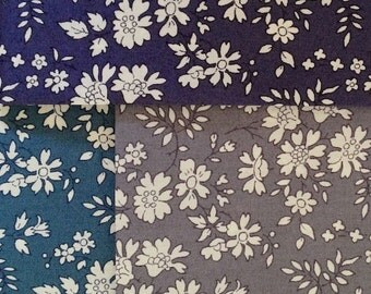 limited edition - liberty of london tana lawn - capel - charcoal grey, teal green/blue and indigo blue - fat quarter