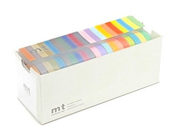 mt washi masking tape - light  / dark colours - 7mm - set of 20