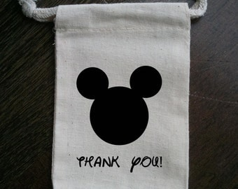 Mickey Mouse Inspired Muslin Party Favor Bag
