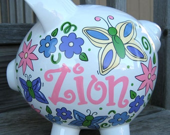 Butterflies and Flowers 2- Personalized Piggy Bank-Large
