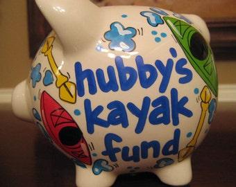 Mini-Personalized Kayak Fund Piggy Bank