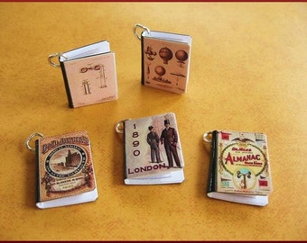 Mini Book Charms Set of all 5 Steampunk Inspired Victorian