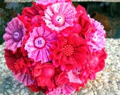 Pink and Red Wedding Bouquet Buttons Satin Lace