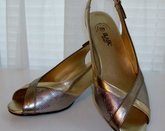 Like New Metallic Peep Toe Sandals - Size 7.5 M