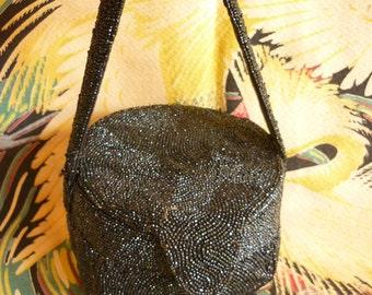 1940s Black Beaded Bag Mini Hatbox Shape black czech 'caviar' beads