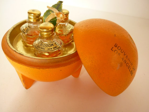 Art Deco Orange Blossom Perfume Trinket Dresser Jar