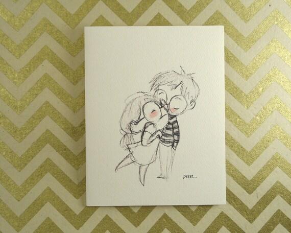 Pssst... I love you - greeting card