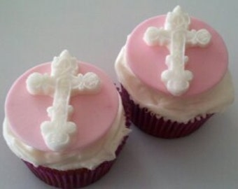 White Cross Fondant Cupcake Toppers-Ornate Cross Cake/Cupcake Toppers-Set of 12