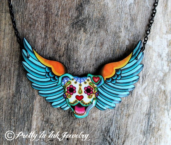 All Pit Bulls Go To Heaven Necklace - Day of the Dead Pitbull Winged Sugar Skull Dog