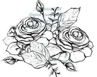 INSTANT Download Digital Stamp Image ROSE CLUSTER,  art Journal, scrapbooking,cardmaking,