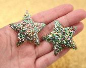 Plastic Charms - 40mm Multi Glitter Stars Resin Charms - 4 pc set