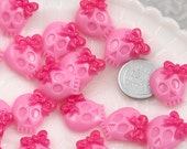 20mm Pink Bow Skull Resin Cabochons - 8 pc set
