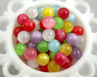 Candy Resin Beads - 14mm Colorful Moonglow Resin Beads - 32 pc set