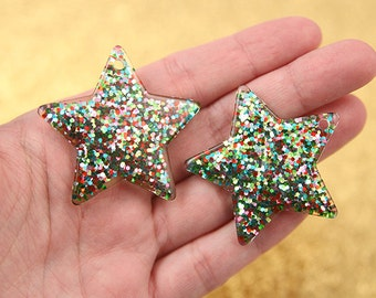 Plastic Charms - 40mm Multi Glitter Stars Resin Charms - 4 pc set