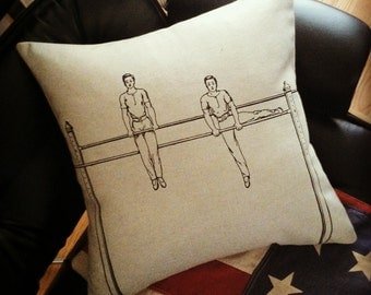 Gymnast Boys on Bars silk screened cotton throw pillow