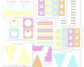 Chevron Cotton Candy Party Full Printable Collection by The TomKat Studio