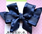 Navy Double Ruffle Classic Diva Bow