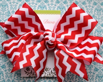 Red and White Chevron XL Diva Bow