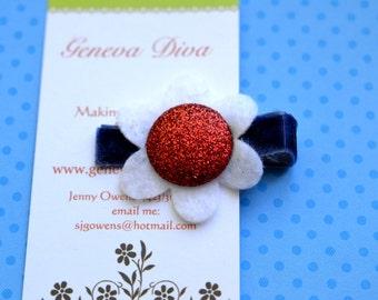 Red, White, and Blue Glittery Felt Flower Clip