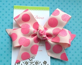 Pink on Pink Glittery Bubble Gum Dots Classic Diva Bow