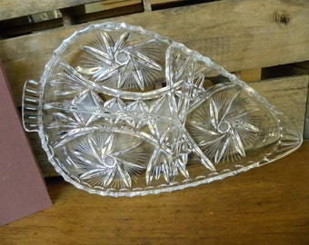 Beautiful Divided Cut Glass Serving Dish