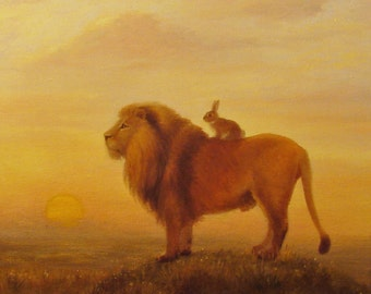 Isabella and The Lion,  Print from original painting, on watercolor paper