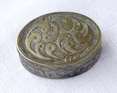 Vintage Egg Shape Chiseled Brass Box/Boho Chic Homeware/Small Vintage Collectible Box
