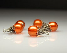 Vintage Style Bead Dangles Orange Glass Set of Five O458