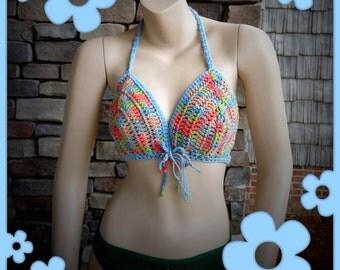 Beach Hippie Chick Summertime Halter in 100% Cotton, Tie Dye, Denim